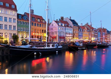 Evening Scenery Of Nyhavn In Copenhagen, Denmark
