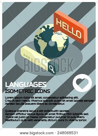 Languages Color Isometric Poster. Foreign Languages Learning Banner Set. Vector Illustration, Eps 10