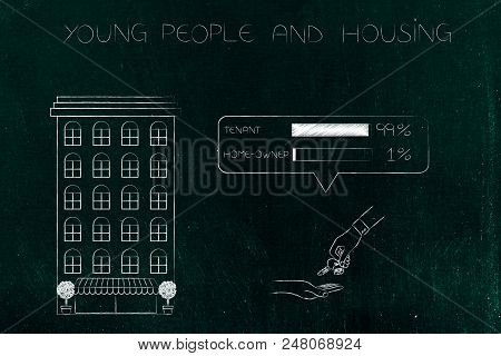 young people and housing conceptual illustration: condo apartment building next to Tenant vs Home-owner survey with house exchanging keys below poster