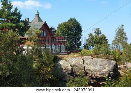 The mountain hut on Topfer hill near Oybin in Germany