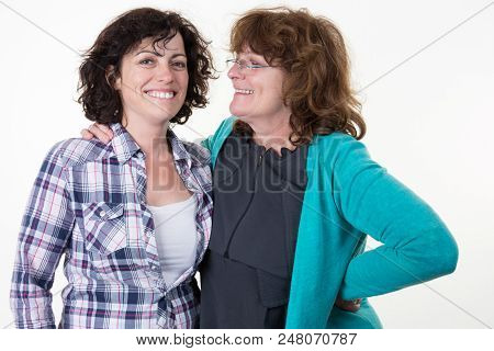 Girl Daughter Forties With Woman Mother Senior Portrait