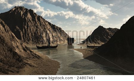 Viking longships in an Icelandic inlet about 900AD, 3d digitally rendered illustration poster