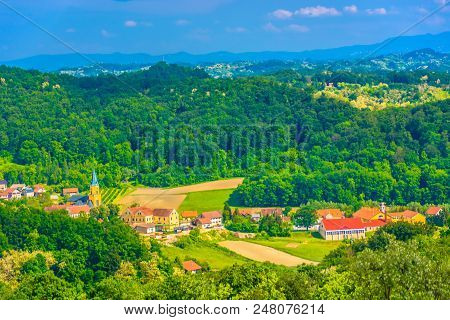 Aerial View At Picturesque Village Desinic In Zagorje Region, Croatia Europe Scenery.