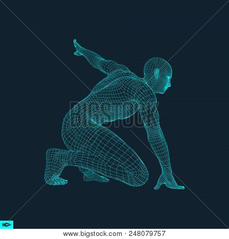 Athlete At Starting Position Ready To Start A Race. Runner Ready For Sports Exercise. Human Body Wir