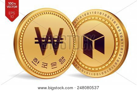 Neo. Won. 3d Isometric Physical Coins. Digital Currency. Korea Won Coin. Cryptocurrency. Golden Coin