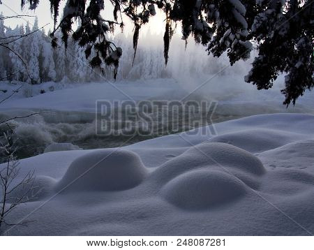 Storforsen, Magic Winter Waterfall, Biggest In Europe