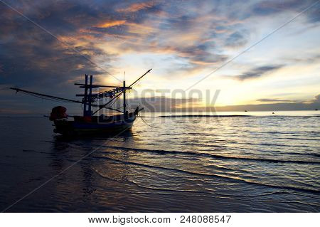Long Boat And Tropical Beach, Huahin, Thailand