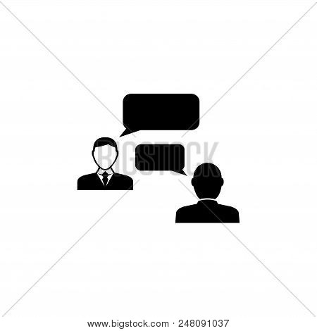 Speaking People, Talking Chat. Flat Vector Icon Illustration. Simple Black Symbol On White Backgroun