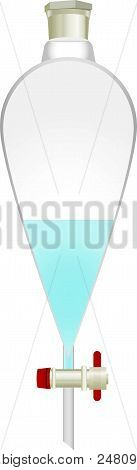 Glass Conical Separating Funnel With Chemical Solution