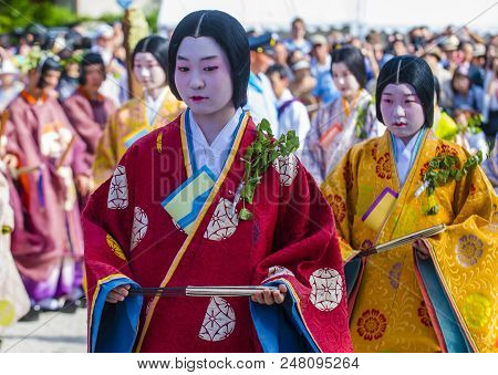 Kyoto - May 15 : Participants In Aoi Matsuri In Kyoto, Japan On May 15 2018. Aoi Mastsuri Is One Of