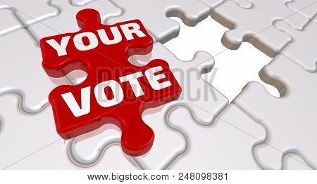 Your Vote. The Inscription On The Missing Element Of The Puzzle. Folded White Puzzles Elements And O