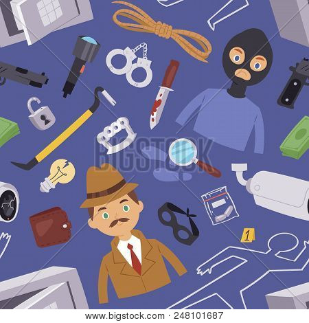 Criminal Thief Cartoon Detective Character Design With Equipment Investigator Police Man Design Vect