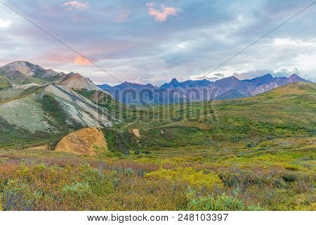 The Scenic Landscape Of Denali National Park Alaska In Early Fall