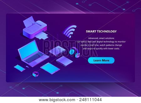 Vector 3d Isometric Template For Site Construction. Portal Background With Button, Violet Laptop, Ro