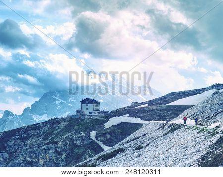 Dolomites, Italy - May 26, 2018: Refugio Auronzo, Alpine Hut 2333m, In Dolomites, Italy. Landmark St