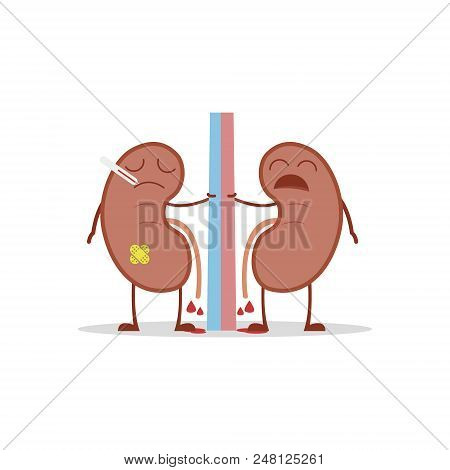 Vector Illustration Of A Sick And Sad Kidneys In Cartoon Style Due To Cystitis Or Other Related Dise