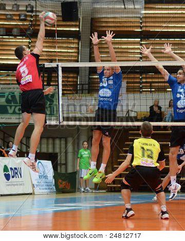 KAPOSVAR, HUNGARY - OCTOBER 29:Balint Magyar (blue 6) in action at a Hungarian National Championship volleyball game Kaposvar (blue) vs. Szolnok (red), October 29, 2011 in Kaposvar, Hungary.