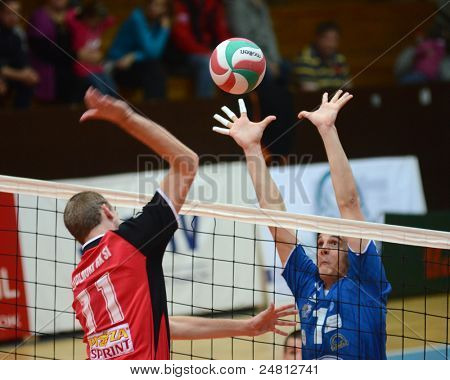 KAPOSVAR, HUNGARY - OCTOBER 29: Alpar Szabo (R) in action at a Hungarian National Championship volleyball game Kaposvar (blue) vs. Szolnok (red), October 29, 2011 in Kaposvar, Hungary.