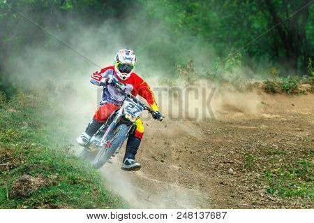 Thailand, Lampang-motocross, Motorcycle, Motocross Dusty,action At Motocross Competition,on Track At