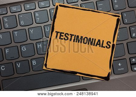 Handwriting Text Writing Testimonials. Concept Meaning Customers Formal Endorsement Statement Experi