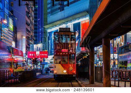 Causewat Bay, Hong Kong - December 10, 2016: Hong Kong Tramways Is A Public Transport In Metropolis.