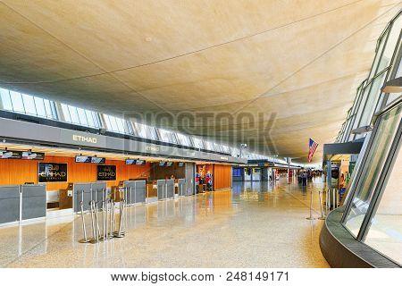 Washington, Usa,interior, Inside Dulles International Airport.