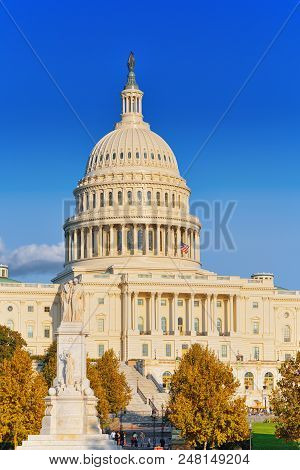 Washington, Usa, United States Capitol, Often Called The Capitol Building And Peace Monument.