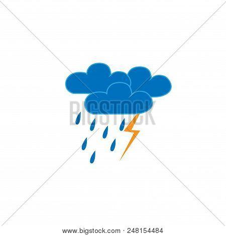 Storm Sign. Weather Icon. Meteorology Symbol Thunder Stormy. Isolated Icon Bad Weather. Design Eleme