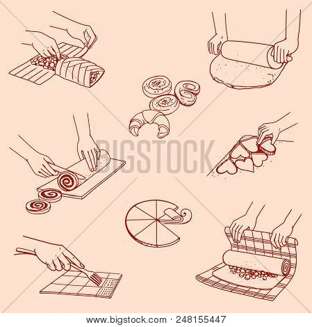 Different Pastries, Pastry, Buns, Rolls On A Pink Background