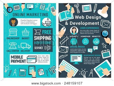 Online Marketing, Web Design And Development Banner For Advertising Business Design. Internet Market