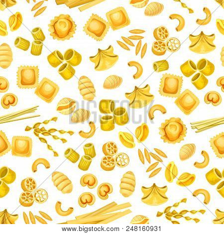 Italian Pasta Seamless Pattern Background With Mediterranean Food. Italian Macaroni, Spaghetti And R
