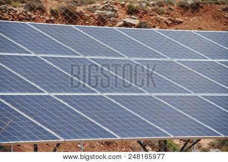 The solar energy station on the Greek island of Tilos in June 2018. The island aims to become self sufficient in power through solar panels and a wind turbine.