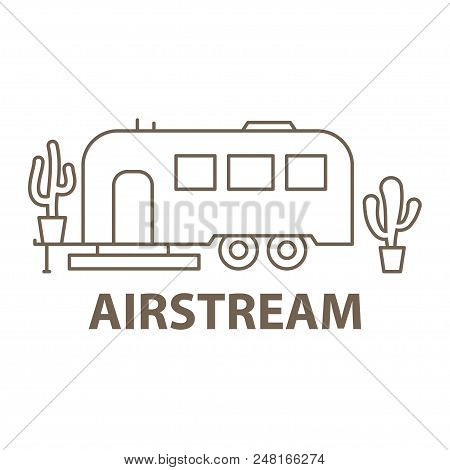 Template With Airstream For Glamping. Flat Line Style Glamping Travel Icon. Vector Illustration.