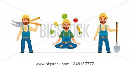 Smiling Happy Farmer Or Gardener Characters Set.farmer With Tools. Yoga Farmer With Vegetables. Cart