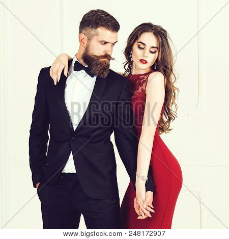 Sexual Passionate Couple In Elegant Evening Clothes. Luxurious Interior. Fashion Shot. Woman Feeling