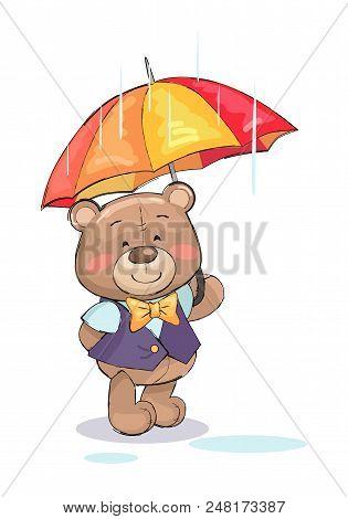 Cute Teddy-bear Standing Under Umbrella In Rainy Weather Vector Illustration Of Stuffed Toy In Gentl