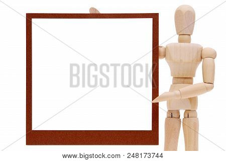Wooden Dummy With Blank Instant Photo Isolated On White Background