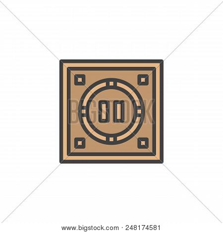 Japanese Dohyo Filled Outline Icon, Line Vector Sign, Linear Colorful Pictogram Isolated On White. S