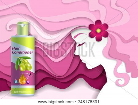Hair Conditioner Ads Vector Paper Cut Illustration. Hair Care Product Hair Conditioner Plastic Bottl