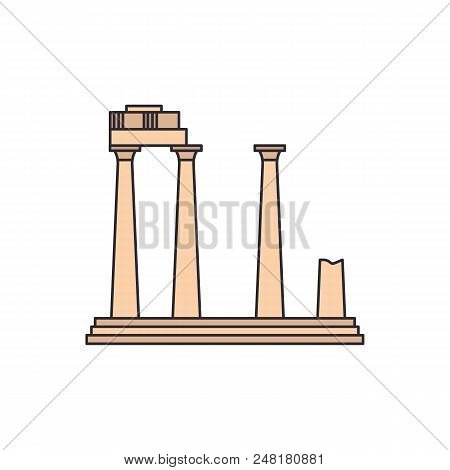 Old Temple Icon. Cartoon Illustration Of Old Athena Temple Vector Icon For Web And Advertising