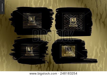 Ink Brush Background Group Set - Abstract Vector Illustration. Four Ink Brush Strokes With Rough Edg