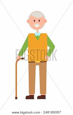 Funny Grandad, Bright Banner, Vector Illustration Isolated On White Backdrop, Aged Man With Cute Smi