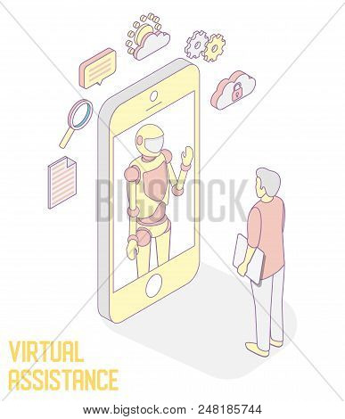 Personal Assistant Mobile Apps Vector Concept Illustration. Isometric Smartphone With Robot Virtual