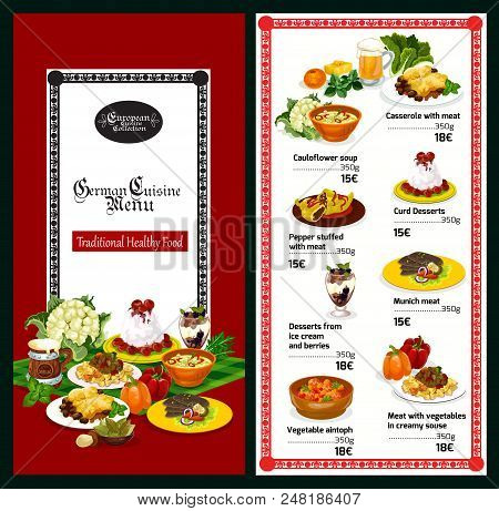 German Cuisine Restaurant Menu Template Of Traditional Bavarian Food And Drink. Meat Stew And Casser