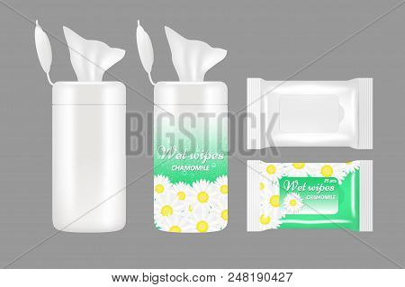 Wet Wipes Package Mockup Set. Vector Realistic Illustration Of White Blank And Chamomile Wet Wipes P