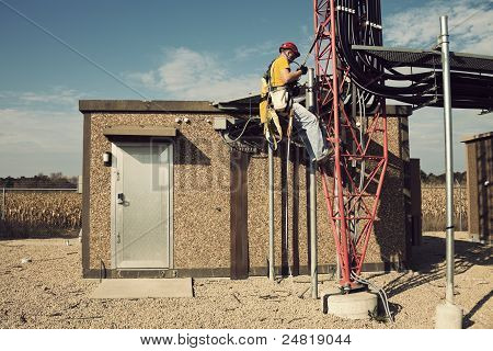 Tower Climber Starting Way Up