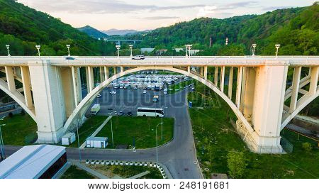 Sochi, Russia - April 27, 2018: Drone View Of The Matsesta Viaduct Closeup On The Background Of The
