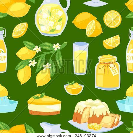 Lemon Food Vector Lemony Yellow Citrus Fruit And Fresh Lemonade Or Natural Juice Illustration Set Of
