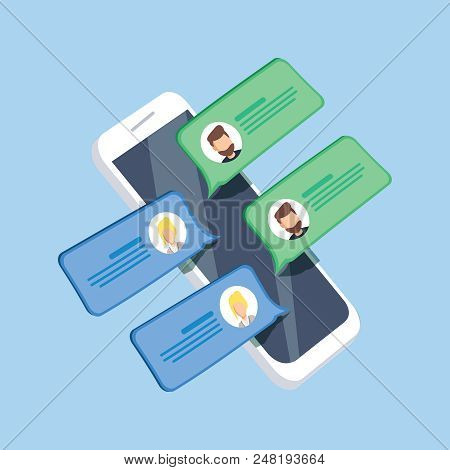 Chat Messages Notification On Smartphone Vector Illustration, Flat Cartoon Isometric Sms Bubbles On