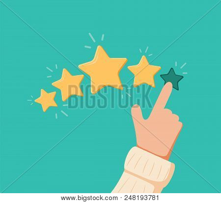 Vector Cartoon Funny Illustration Of Rating Selection Finger. Human Hands Put Estimate. Rank. Five S